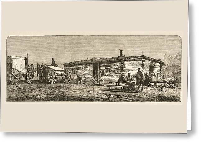 Station Wagon Drawings Greeting Cards - Old Post Station On The Prairie In Greeting Card by Vintage Design Pics