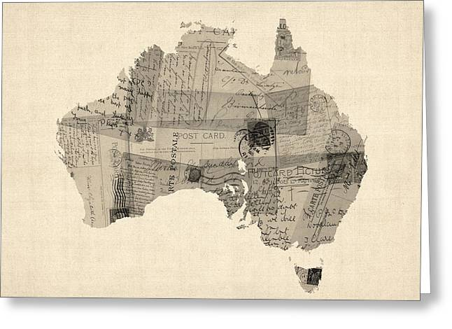 Australia Digital Art Greeting Cards - Old Postcard Map of Australia Map Greeting Card by Michael Tompsett