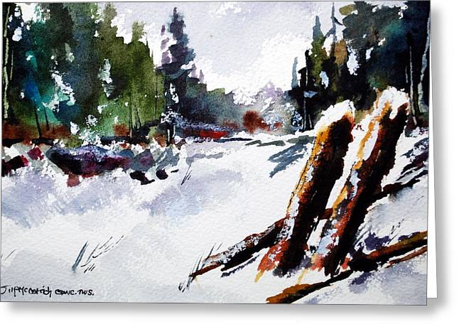 Old Posts In Snow Greeting Card by Wilfred McOstrich