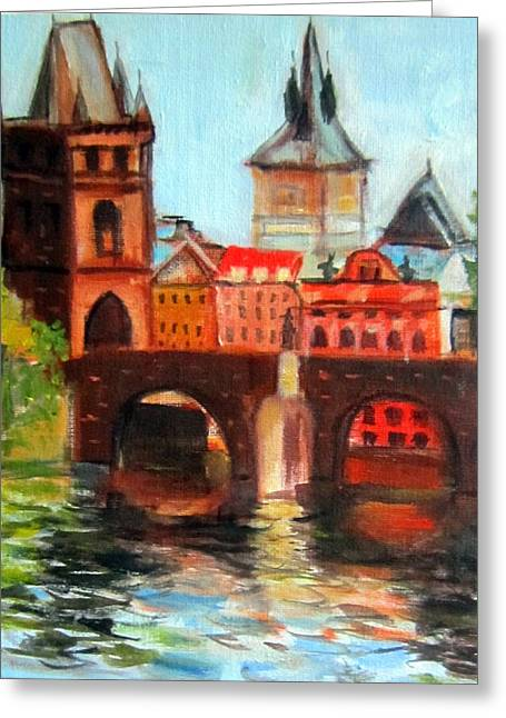 Prague Paintings Greeting Cards - old Prague Greeting Card by Lia  Marsman