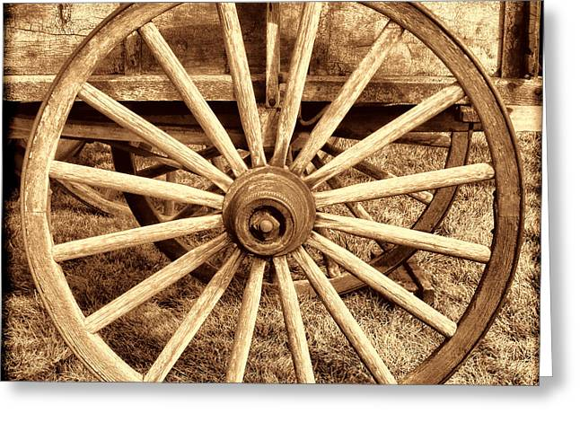 Historic Schooner Photographs Greeting Cards - Old Prairie Schooner Wheel Greeting Card by American West Legend By Olivier Le Queinec