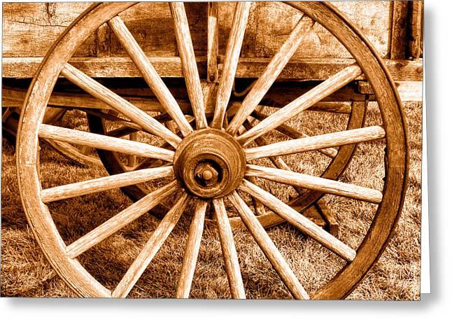 Old Prairie Schooner Wheel - Sepia Greeting Card by Olivier Le Queinec