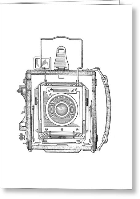 T Shirts Drawings Greeting Cards - Old Press Camera T-shirt Greeting Card by Edward Fielding
