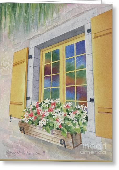 Old Quebec Window Greeting Card by Deborah Ronglien
