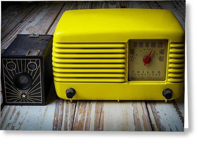 Old Radio And Camera Greeting Card by Garry Gay