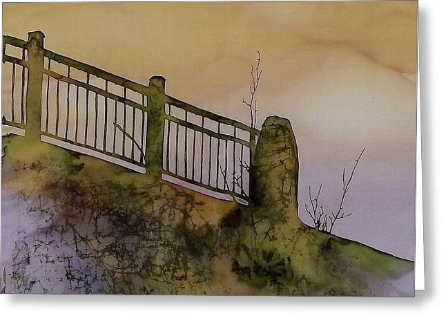 Silk Art Tapestries - Textiles Greeting Cards - Old Railroad Bridge II Greeting Card by Carolyn Doe