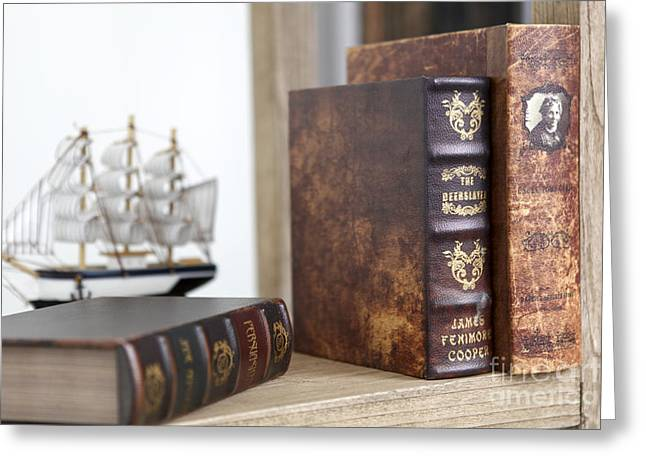 Leatherbound Greeting Cards - Old rare leatherbound books  Greeting Card by Eran Turgeman