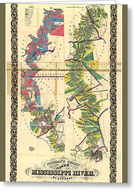 Old Rare Mississippi Map Greeting Card by Pd