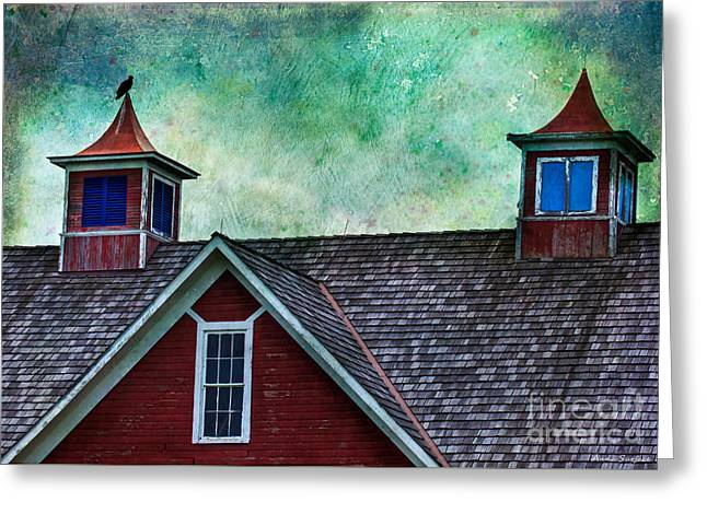 Old Barns Greeting Cards - Old Red Barn Roof With Vulture Greeting Card by Anna Surface