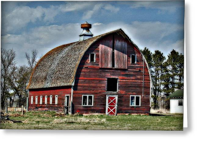 Cupola Greeting Cards - Old Red Barn with Cupola Greeting Card by Laurie With