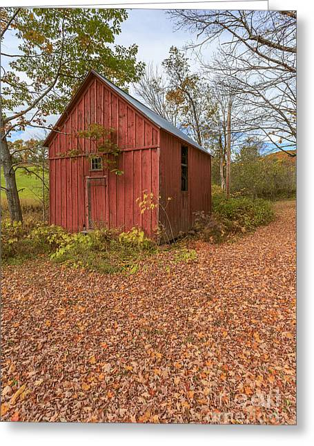 Wooden Building Greeting Cards - Old Red Barn Woodstock Vermont Greeting Card by Edward Fielding