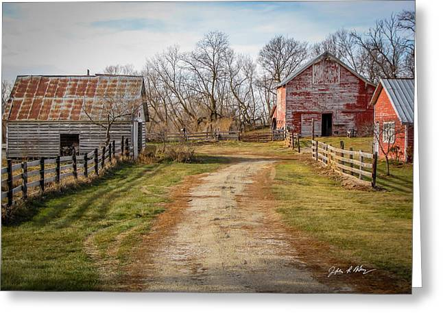 Barn Yard Greeting Cards - Old Red Barns along Farmers Lane Greeting Card by Jeffrey Henry