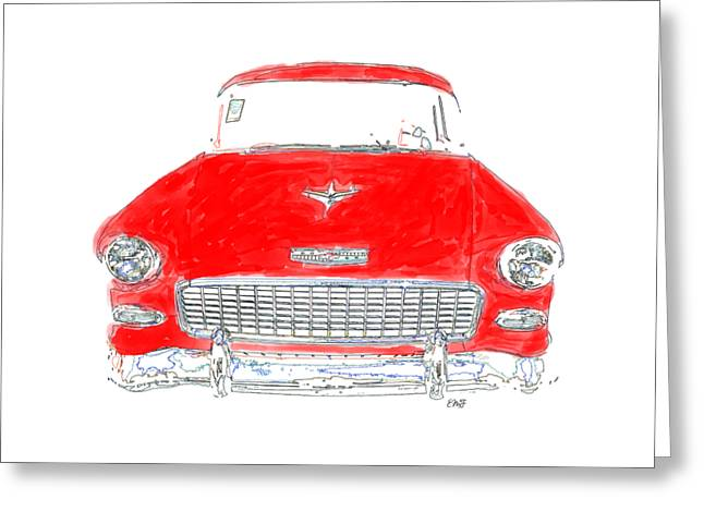 Old Red Car Drawing T-shirt Greeting Card by Edward Fielding