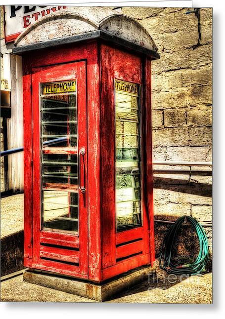 Kiosk Greeting Cards - Old Red Phone Booth Greeting Card by Kaye Menner
