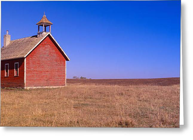 Old Red Schoolhouse On Prairie, Battle Greeting Card by Panoramic Images