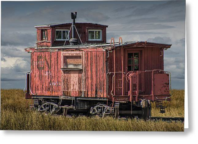 Old Caboose Greeting Cards - Old Red Train Caboose Greeting Card by Randall Nyhof
