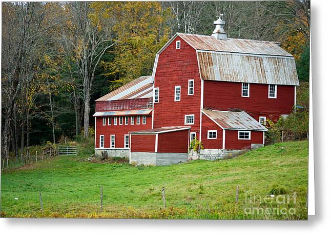 Farming Greeting Cards - Old Red Vermont Barn Greeting Card by Edward Fielding
