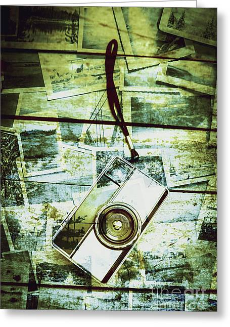 Old Retro Film Camera In Creative Composition Greeting Card by Jorgo Photography - Wall Art Gallery