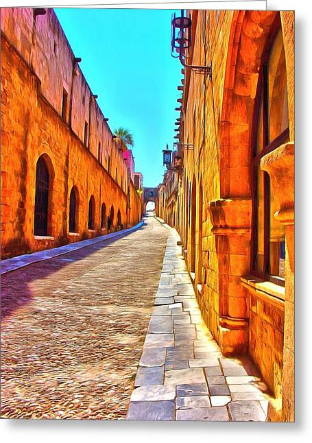Town Mixed Media Greeting Cards - Old Rhodes Town Greece Greeting Card by Scott Carruthers