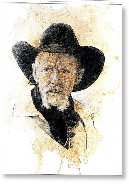 Scottsdale Artist Greeting Cards - Old Rider Greeting Card by Debra Jones