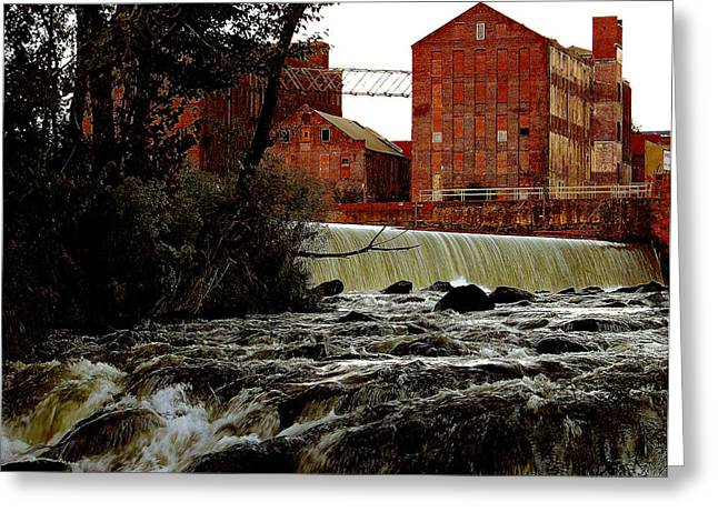 Best Sellers -  - Stream Digital Art Greeting Cards - Old River Dam in Columbus georgia Greeting Card by Ruben  Flanagan