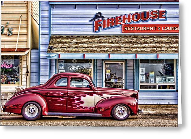 Florence Greeting Cards - Old Roadster - Red Greeting Card by Carol Leigh