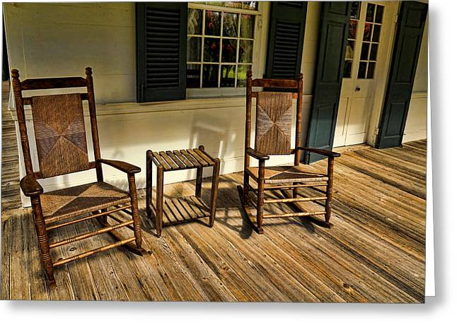 Historic Home Greeting Cards - Old Rocking Chairs Greeting Card by Judy Vincent