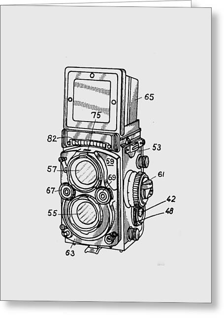 T Shirts Drawings Greeting Cards - Old Rollie Vintage Camera T-shirt Greeting Card by Edward Fielding