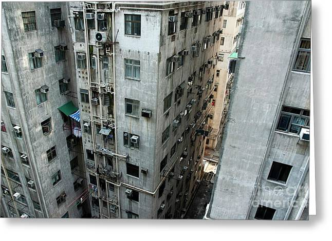 Kowloon Greeting Cards - Old run-down concrete high-rise apartment buildings in Kowloon Greeting Card by Sami Sarkis