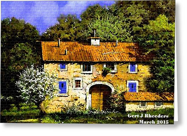 Cellphone Pastels Greeting Cards - Old Rural Villa H a Greeting Card by Gert J Rheeders