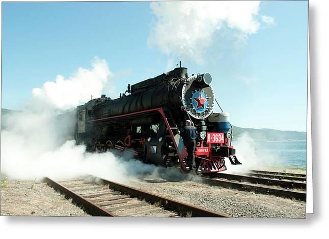Old Russian Train On Bajkal Greeting Card by Tamara Sushko