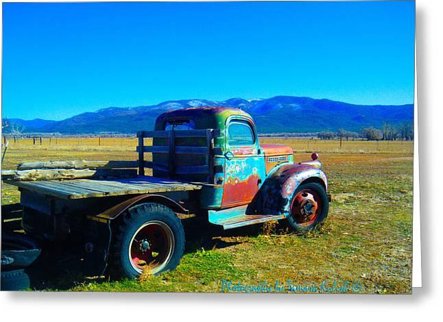 Rusted Cars Greeting Cards - Old Rusted Truck Near Taos 1 Greeting Card by Tamara Kulish