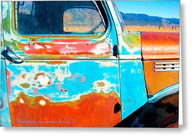 Rusted Cars Greeting Cards - Old Rusted Truck Near Taos 3 Greeting Card by Tamara Kulish