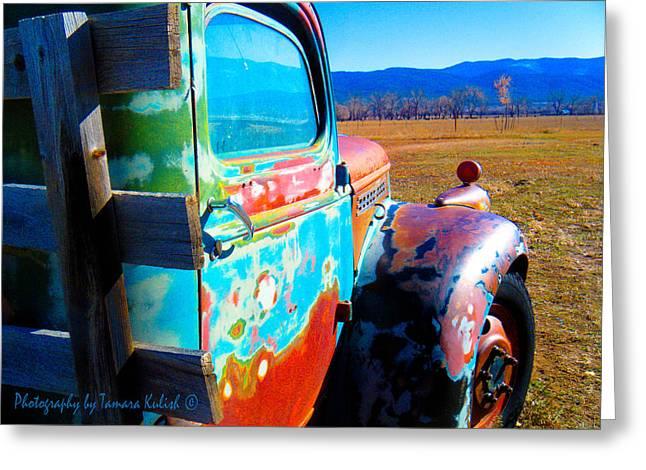 Rusted Cars Greeting Cards - Old Rusted Truck Near Taos 4 Greeting Card by Tamara Kulish