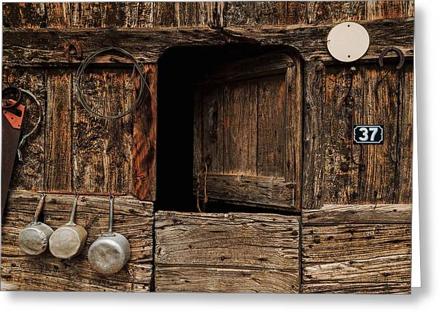Saw Greeting Cards - Old Rustic Barn Greeting Card by Thomas Jarrand