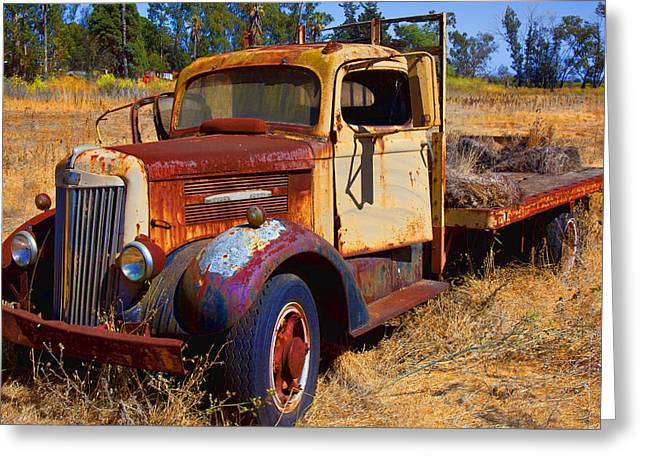 Junker Greeting Cards - Old rusting flatbed truck Greeting Card by Garry Gay