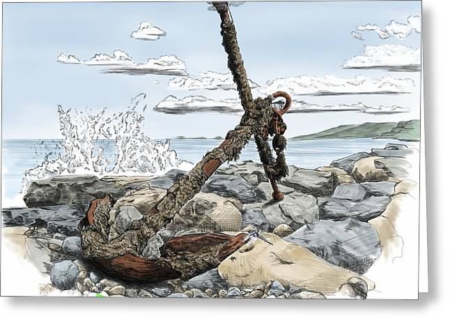 Rocks Drawings Greeting Cards - Old Rusty Anchor Greeting Card by Myke  Irving