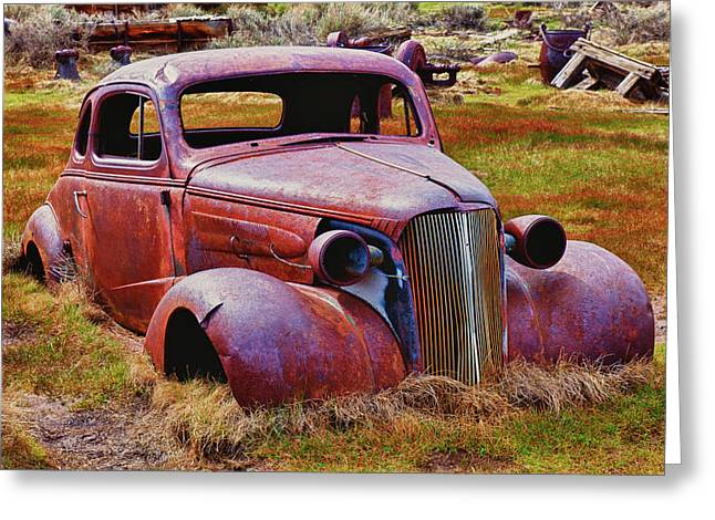 Junk Greeting Cards - Old rusty car Bodie Ghost Town Greeting Card by Garry Gay