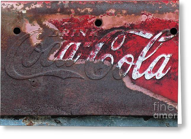 Shower Curtain Greeting Cards - Old rusty Coca Cola Sign Greeting Card by Anahi DeCanio - ArtyZen Studios