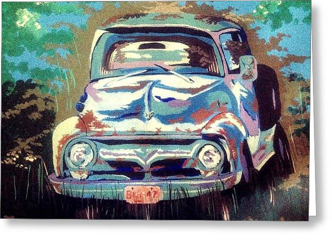 Boats In Water Greeting Cards - Old rusty ford  Greeting Card by David Perkins