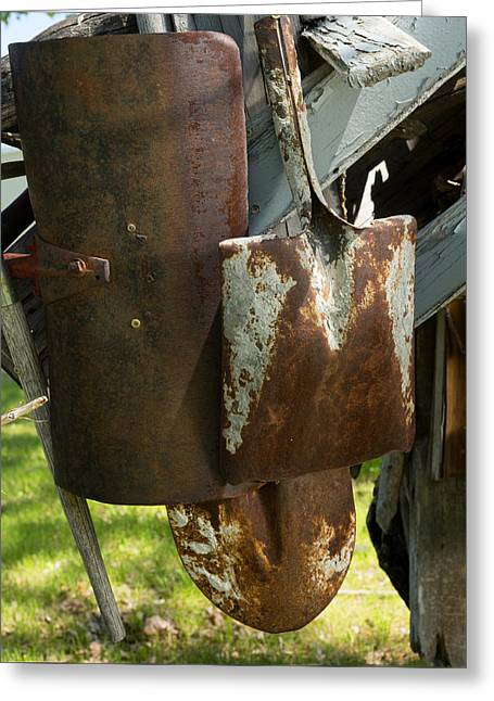 Artist Photographs Greeting Cards - Old Rusty Shovels Greeting Card by Donald  Erickson