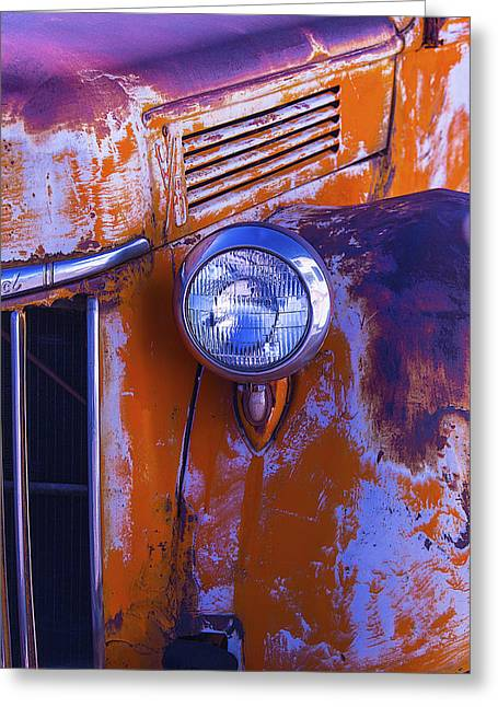 Pickup Truck Door Greeting Cards - Old Rusty Truck Headlight Greeting Card by Garry Gay