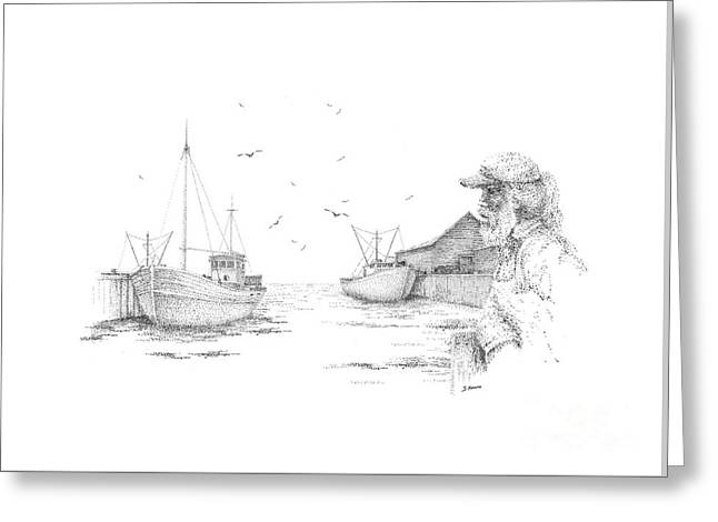 Pen And Ink Drawing Greeting Cards - Old Salt Greeting Card by Steve Knapp