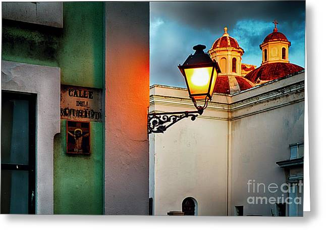 Old San Juan Street Corner With A Cathedral Greeting Card by George Oze