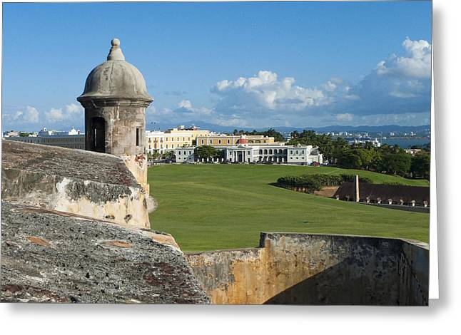 Castillo San Felipe Greeting Cards - Old San Juan Vista from El Morro Fort Greeting Card by George Oze