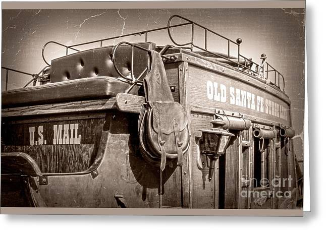 Straps Greeting Cards - Old Santa Fe Stagecoach Greeting Card by Imagery by Charly