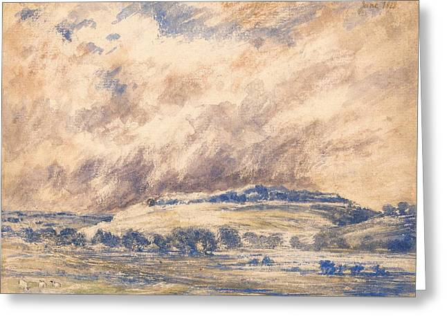 Storm. Rain. Oil On Canvas Greeting Cards - Old Sarum In A Storm Greeting Card by Unknown