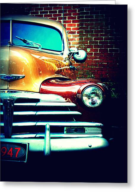 Oliver Greeting Cards - Old Savannah Police Car Greeting Card by Dana  Oliver
