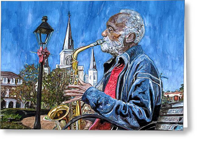 Old Sax Player In Jackson Square Greeting Card by John Boles