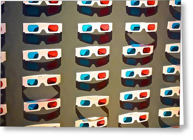 3-d Glasses Greeting Cards - Old School 3-D Greeting Card by Eliza McNally
